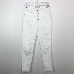 "MADEWELL 10"" High Rise Skinny White Step Hem Jeans"